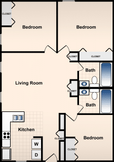 3 Bed / 2 Bath / 905 sq ft / Availability: Please Call / Deposit: $0 * / Rent: $905-995